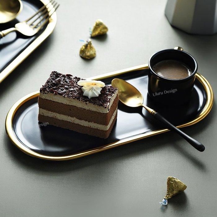 【Uluru】北歐現代簡約 黑金盤 甜點盤 蛋糕盤 陶瓷盤 早餐盤 美食 盤子 碟子 早午餐 餐盤 loft zakka