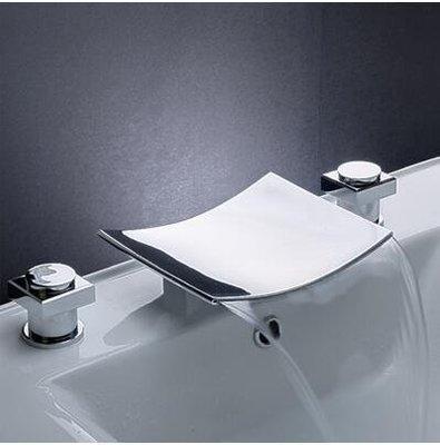 【優上精品】瀑布式面盆水龍頭冷熱全銅衛生間 雙把三孔洗臉盆台盆分體三件套(Z-P3208)