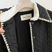 韓國小香菱格秋冬新款羊羔毛袖口棉服外套  Luxe boutique