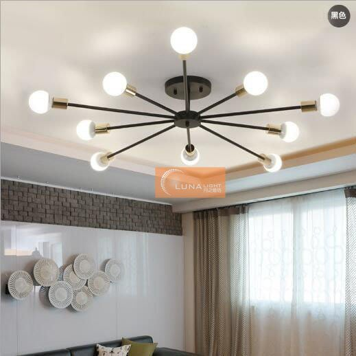 【LUNA LIGHT 月之燈坊】全網最低 北歐簡約韓式現代創意放射狀六燈吸頂燈(C-104),可加購LED燈泡