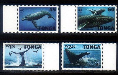 獵郵魔^^ 東加1996『保育類野生動物 座頭鯨 - WWF』4全