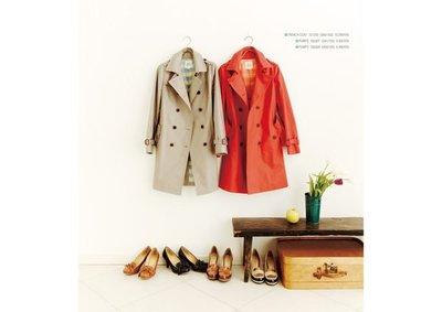 全新出售~日本VERT DENSE 2012最新春裝斜紋面內裡條紋長風衣(橘紅色2號)/ealove/may_5253