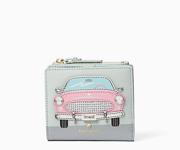 Coco小舖 kate Spade Checking In Pink Car Adalyn Leather Wallet