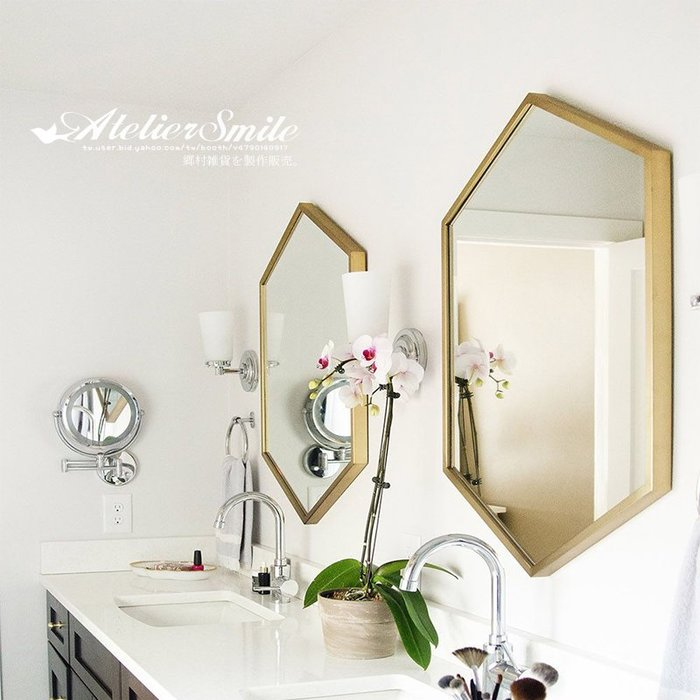 [ Atelier Smile ]  鄉村雜貨 北歐風 簡約 金邊壁掛鏡 多邊形 浴室鏡 # 新品免運 # 40X60