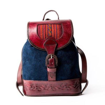 【Lia英國代購】 Beara Beara  BAMBINA NAVY 麂皮雕花民族風織布後背包(小)『預購』J