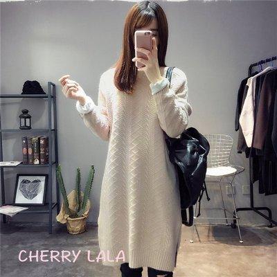 CHERRY LALA 韓國單實拍氣質甜美寬鬆下擺開叉加厚針織毛衣裙 -JL2294  韓妮 chic