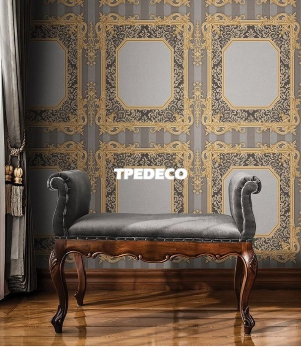 【大台北裝潢】PL韓國進口壁紙/壁布* 仿皮革直條 宮廷風畫框(4色) 每坪750元