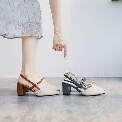 Venaessa韓國現貨女鞋小ck鞋法式少女瑪麗珍鞋高跟鞋2020新款夏季涼鞋女粗跟尖頭女單鞋