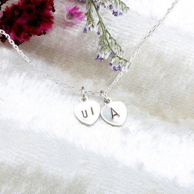 【客製】 雙愛心 敲字 刻字 英文 數字 s925 純銀項鍊