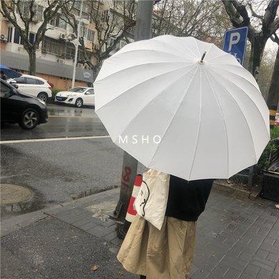 @精品良鋪 新款 創意ooahz 適合拍照的治愈白~純色ins長柄雨傘男女實木柄婚慶傘防風