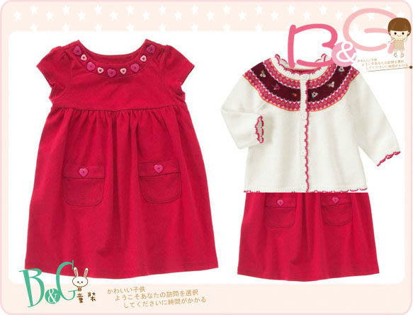 【B& G童裝】正品美國進口Crazy8愛心釦子紅色短袖洋裝18-24mos