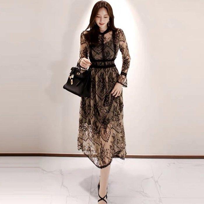 *Angel  Dance*長袖蕾絲洋裝@韓國 名媛氣質 小性感 鏤空 網紗 小禮服 鈎花 喇叭袖  A字裙@現貨+預購