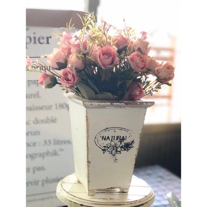 木頭 花器 花桶 防水層 復古 做舊 白色 道具 仿真花 批發 花瓶 花盆 鄉村風 北歐風 人造花 花木馬 裝飾 佈置