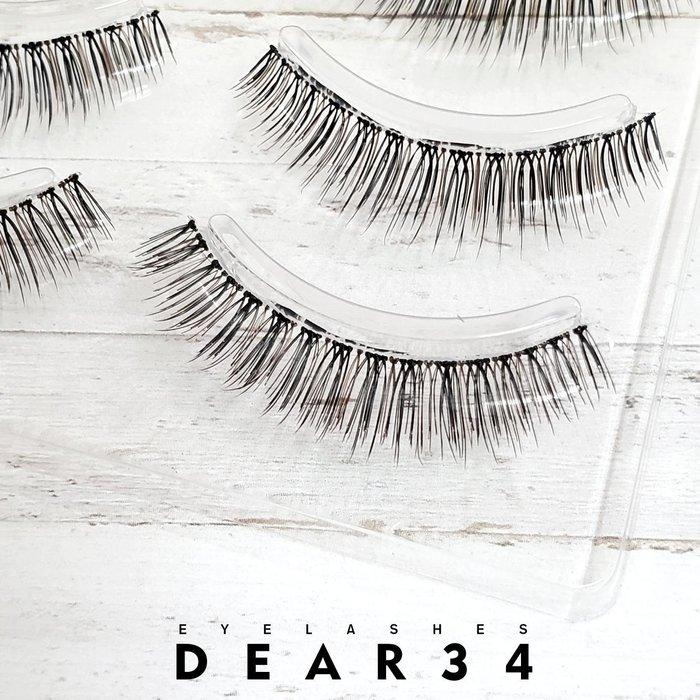 《Dear34》極細磨尖黑棕相間S6透明梗短款0.8cm眼中長純手工編織咖啡色假睫毛上睫毛一盒四對價