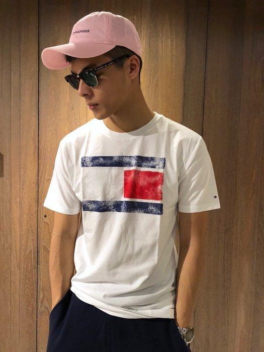 美國百分百【Tommy Hilfiger】T恤 TH 男 國旗 T-shirt 短袖 短T 大logo 白色 J080