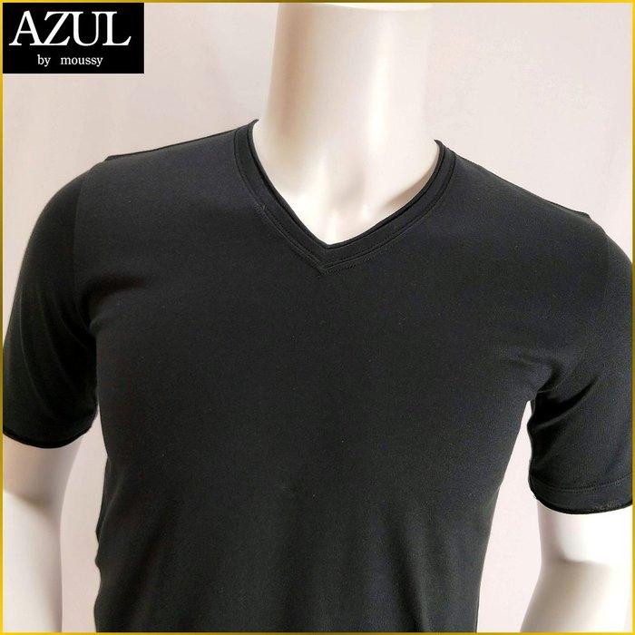 日本/AZUL BY MOUSSY/小尺碼/天竺木綿/短袖T恤/黒色/V領/T恤/新品/男 S号/165cm/O231A