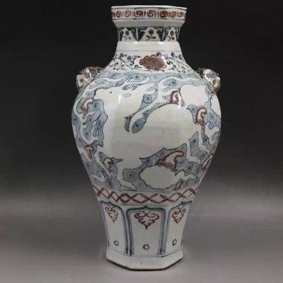 ㊣姥姥的私藏㊣ 元青花釉裡紅留白麒麟紋雙獸罐