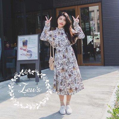 【ZEU'S】韓國早春新款時尚收腰長洋裝『 03119902 』【現+預】C