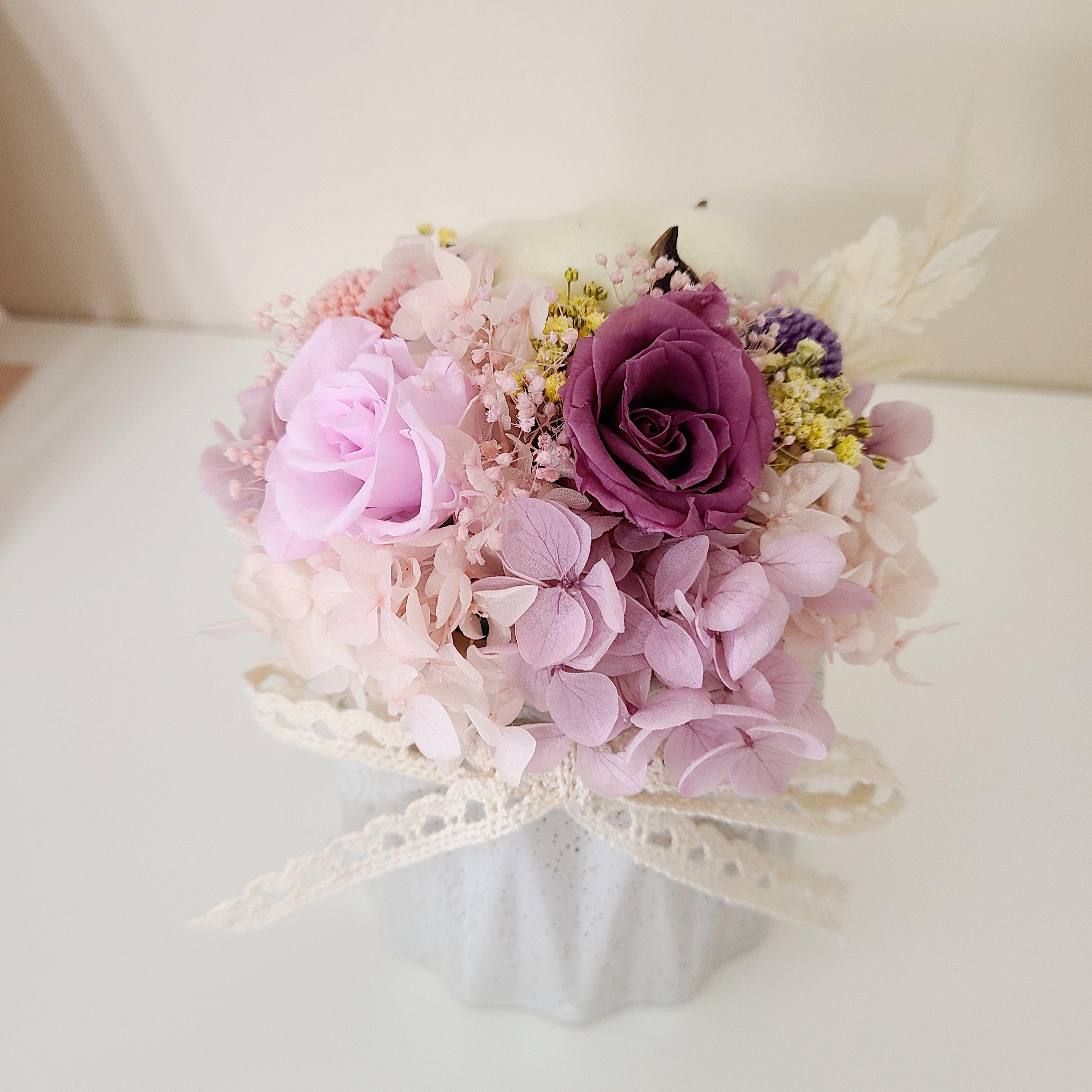 Ming乾燥花手作小物 永生花盆栽 居家擺設 花盆 禮物 永生玫瑰花 繡球花