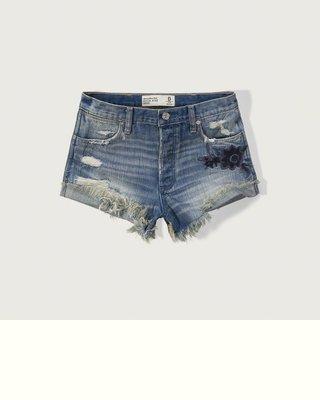 【天普小棧】Abercrombie A&F High Rise 2 inch Denim Shorts繡花牛仔短褲w26
