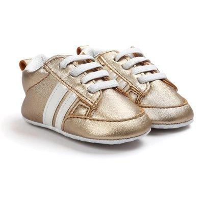 鞋鞋樂園-促銷-軟布底-時尚金色球鞋-學步鞋-寶寶鞋-嬰兒鞋-幼兒鞋-學走鞋-童鞋-鬆緊帶設計-坐學步車穿-彌月送禮
