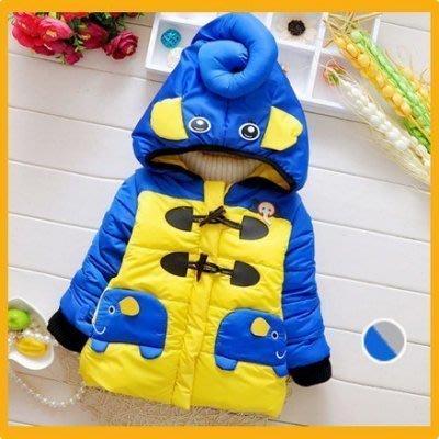 八號倉庫 冬季新款 兒童男童胸前大像 兩隻象口袋 加厚棉衣外套【3E112Y383】