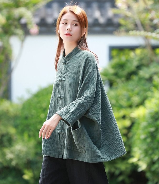 【子芸芳】棉麻復古純色盤扣雙層棉麻竹節長袖開衫外套