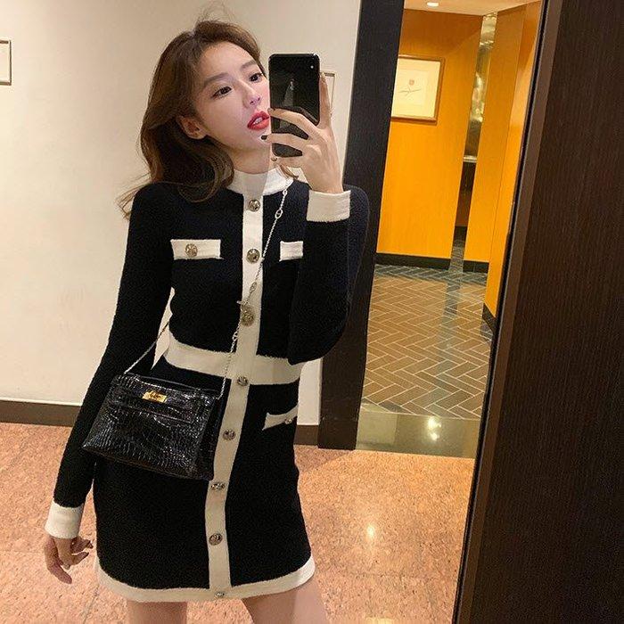 ❤JM SHOP韓風❤輕熟小香風連衣裙黑白拼色修身連衣裙