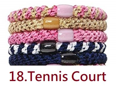 美國代購 L. Erickson時尚彈力髮圈(Tennis Court)  粗款 5條入 /組(現貨)