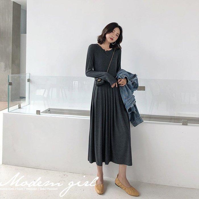 Modem Girl♥100%實拍 必買 內搭好幫手 柔軟素色百摺裙 2色