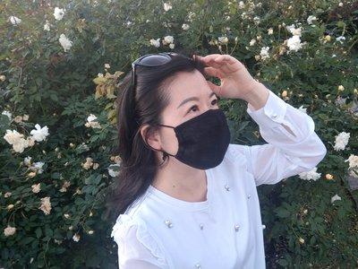 Sandy s choice~妮芙露加工品/妮美龍口罩/負離子纖維口罩(三層)/時尚黑(成人女性和大童口罩)