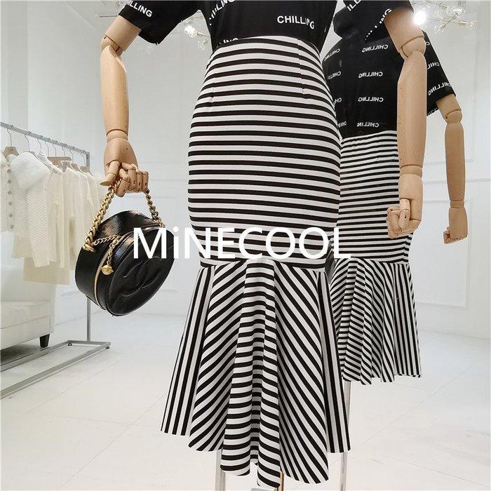 MiNE SHOP韓版高腰顯瘦不規則條紋魚尾過膝中長裙M9321-6黑色 SM