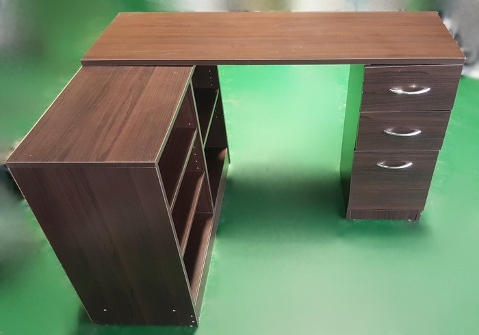 二手家具台中 宏品全新中古傢俱賣場 E71501胡桃書桌+書櫃 電腦桌 辦公桌 會議桌*2手桌椅拍賣 餐桌 戶外桌椅
