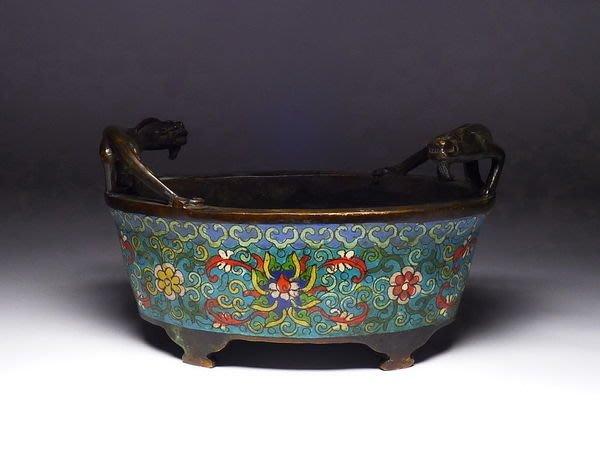 609 大明宣德年製 款 銅胎掐絲琺瑯雙祥獸耳香爐 銅爐 香薰爐