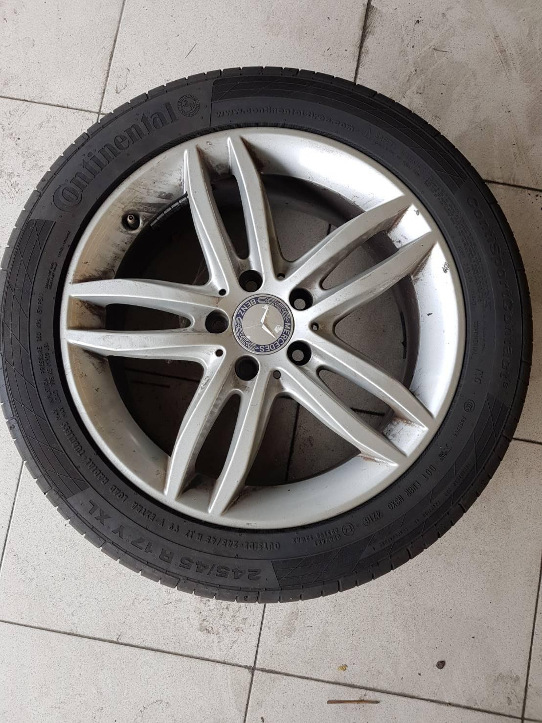 賓士原廠17吋鋁圈含馬牌(七成新)245/45/17輪胎