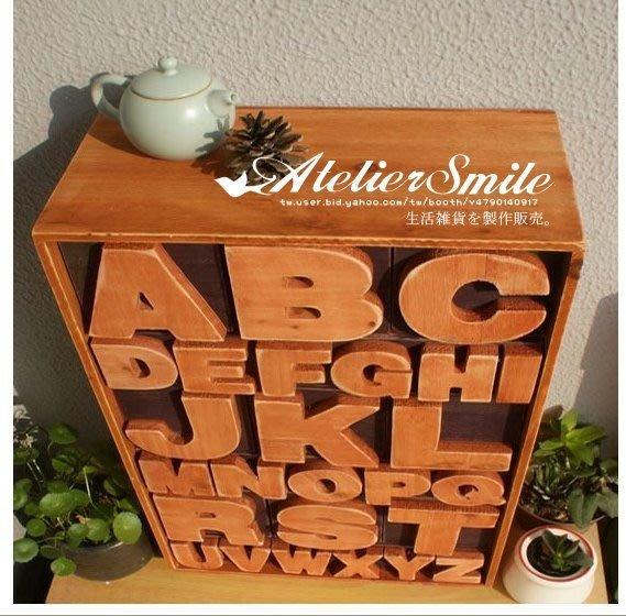 [ Atelier Smile ] 鄉村雜貨 復古實木 小型字母收納櫃 直立雜物櫃 (現貨)