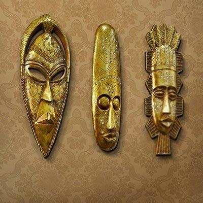 掛飾 壁掛 擺件-非洲原住民金色面具居家擺飾用品3款73a21[獨家進口][巴黎精品]