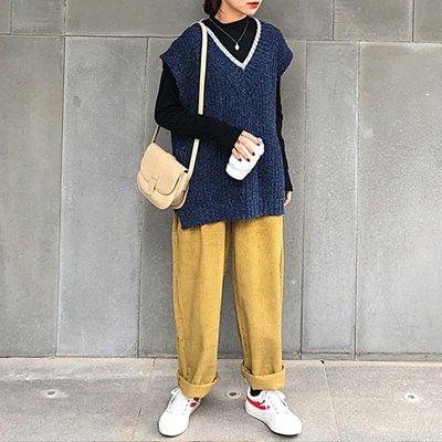 背心 寬鬆v領無袖外穿針織衫很仙的毛衣洋氣上衣背心女裝百搭