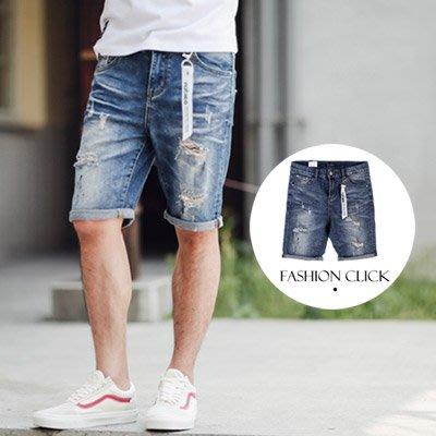 柒零年代【NB0157J】破壞感抓破油漆噴點飄條牛仔短褲(LE-PA13)