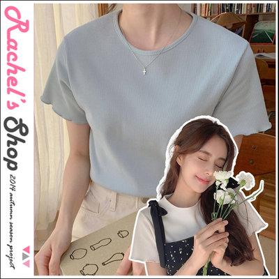 韓國空運*cherrykoko捲捲木耳邊鬆餅方格狀彈性短T[CK-CB02HWTE7]Rachel's Shop