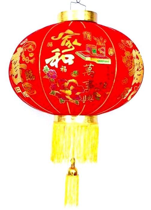 【洋洋小品高級絨布燈籠#60-40CM-2入家和萬事興】恭喜發財春聯批發零售過年燈籠大紅高高掛豬年飾品大型佈置圓型燈籠