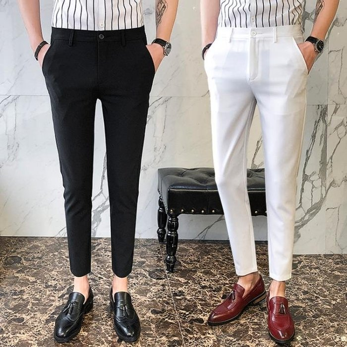 西裝褲 社會精神小伙休閒百搭九分褲男士職業商務英倫小腳西褲裝修身褲子一件免運