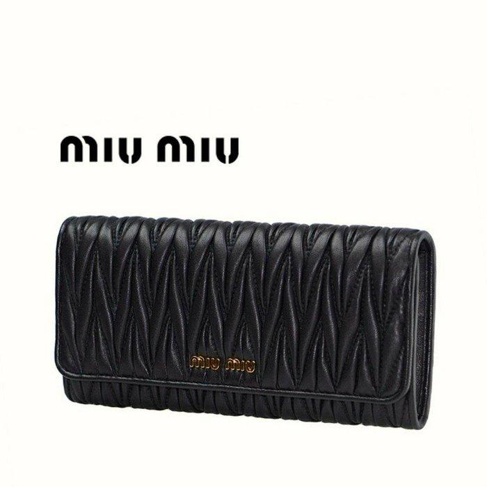 MIU MIU ►( 黑色 × 金屬金色 ) 經典皺摺款  真皮 兩摺長夾 錢包 皮夾|100%全新正品|特價!