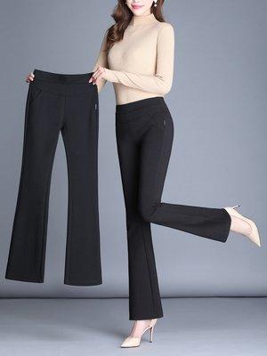 喇叭褲 喇叭褲女高腰春夏垂感寬鬆休閑彈力大碼長褲微喇黑色九分 唯伊時尚