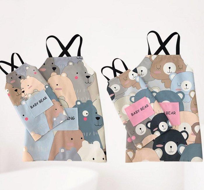 成人款【多熊圍裙】 KG0004 熊熊圍裙 防污棉麻 廚房圍裙 卡通親子 兒童圍裙