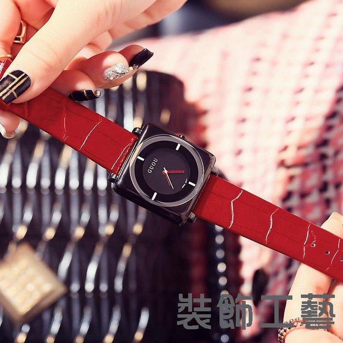 香港GUOU經典休閑韓版方形石英手錶簡約帥氣皮帶黑色個性手錶8811