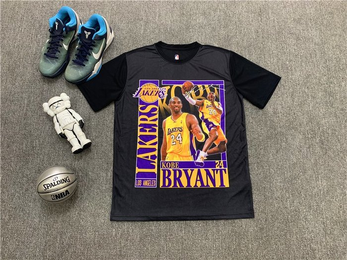 NBAT恤職籃球星柯比·布萊恩(Kobe Bryant)洛杉磯湖人隊 籃球運動T恤 黑色 正版