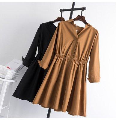 喬羽中大尺碼~韓版V領純色縮腰襯衫裙