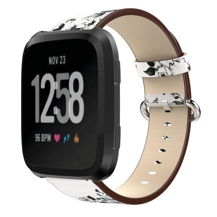 Fitbit Versa 錶帶 智能手錶帶 復古花朵 頭層牛皮 真皮腕帶  替換腕帶 簡約時尚 Versa 耐磨耐用