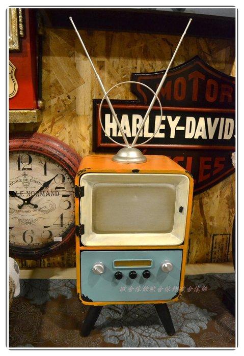 【歐舍家飾】工業風 鐵製復古仿舊電視機一門一抽收納盒 桌上發票收據帳單名片零錢照片拍照道具美式鄉村北歐風模型裝飾布置品